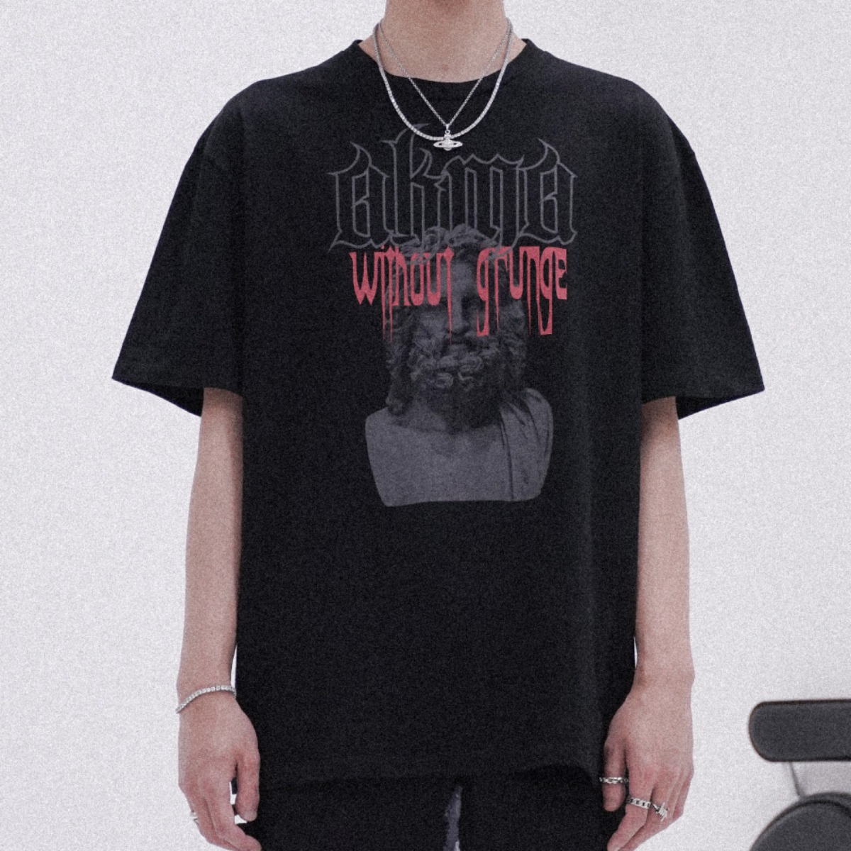 "POP UP SERIES "" AKMA WITHOUT GRUNGE "" T-SHIRT #4 _BLACK"