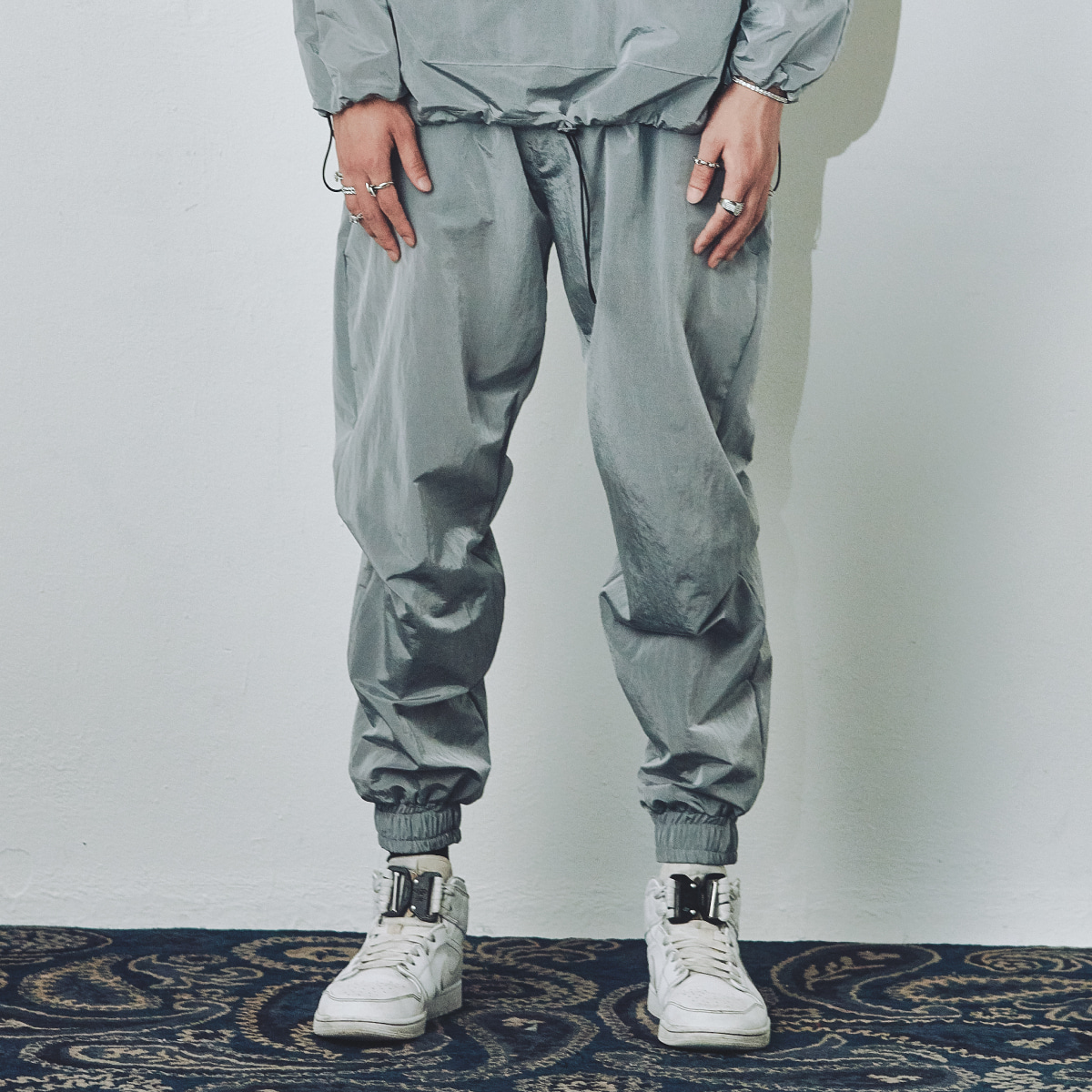 "FOURTH SEASON ""WATERPROOF METALLIC PANT"" #GRAY"