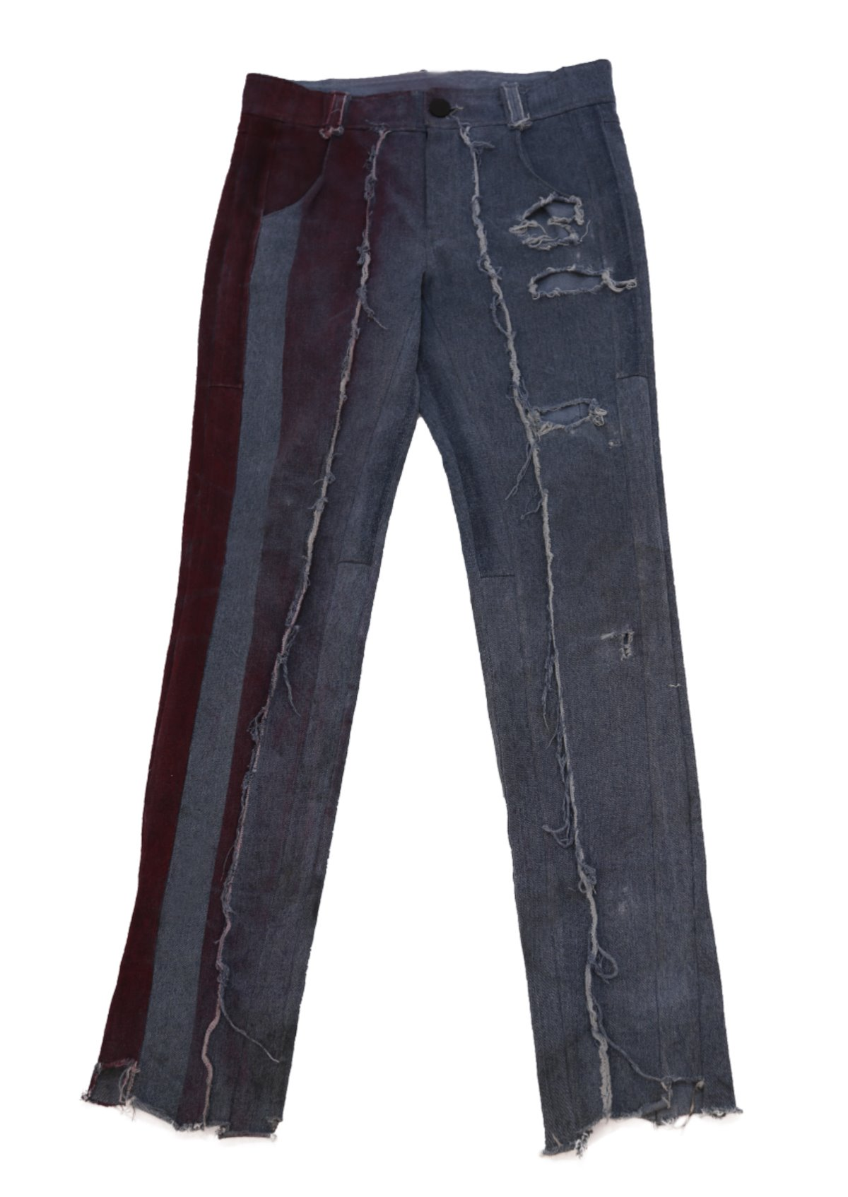 RED SRTIPE PAINTED DENIM PANT