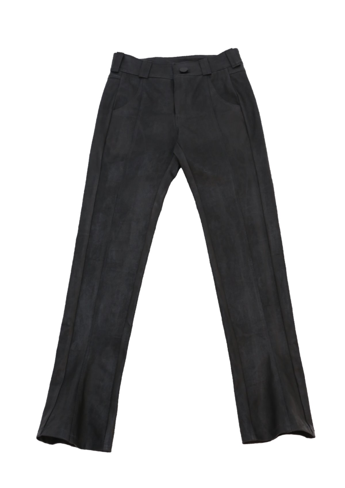 LEATHER LIKE COATED DENIM PANT
