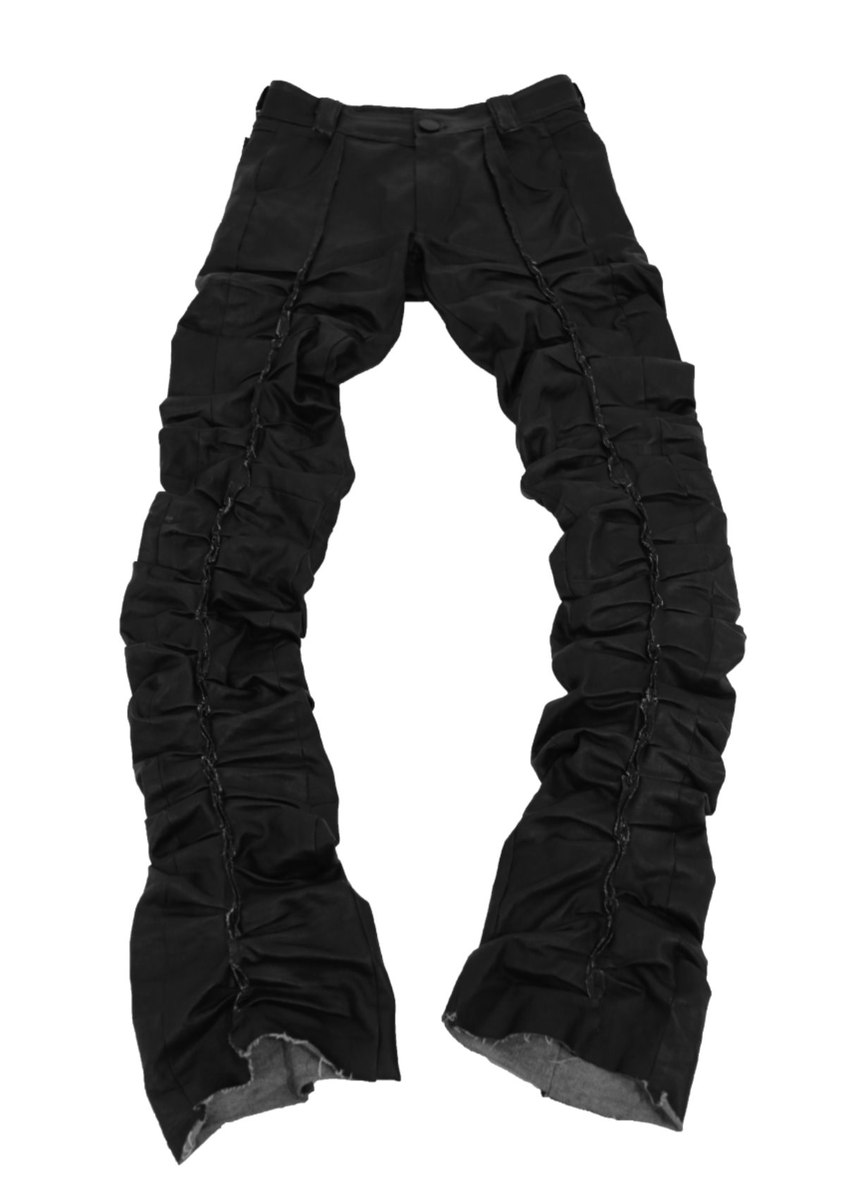 BLACK COATED PLEATED JEAN